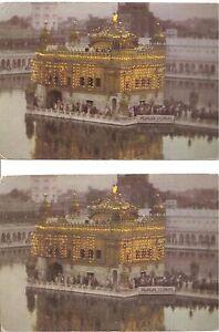 2-PCS-ILLUMINATION-GOLDEN-TEMPLE-AMRITSAR-SIKHISM-PICTURE-POSTCARDS-C-1970