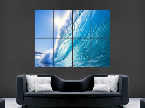 BLUE WAVE SEA  SURF LARGE  WALL PICTURE POSTER GIANT HUGE ART