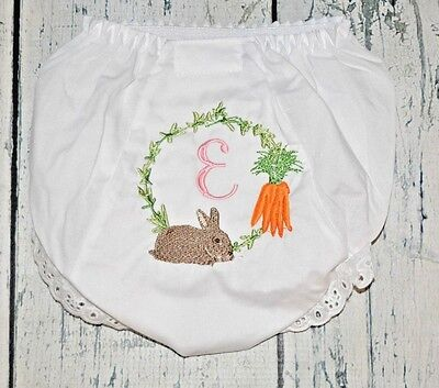 Adroit Personalized Easter Bunny And Carrot Bloomers 12-24 Month Bright Luster