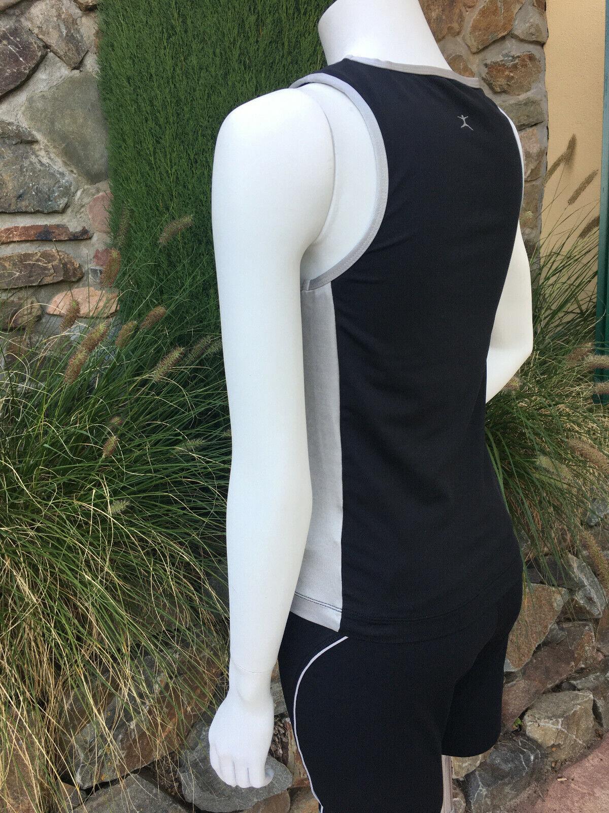 armelloses Sport Top schwarz silber mit BH Stützfunktion v. DANSKIN in Gr. S - M