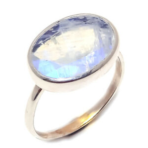 Rainbow-moonstone-Natural-Handmade-Gemstone-925-Sterling-Silver-Ring-Size-7