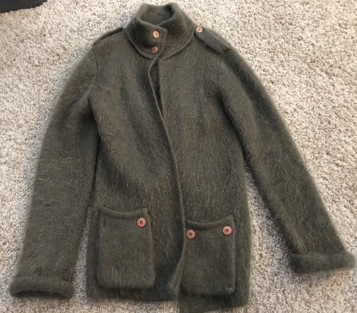 VINTAGE NEIMAN MARCUS Kid Mohair sweater swingy coat olive green wool button
