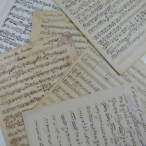antique-music-paper-HANDWRITTEN-MANUSCRIPT-10x-maybe-for-craft-origami-cards