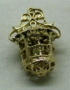 Heavy-Large-Ornate-9-Carat-Gold-Bird-In-A-Cage-Charm
