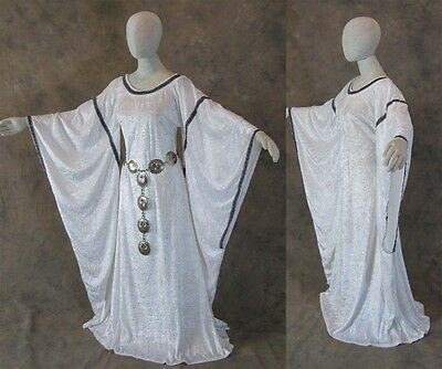 White Medieval Bell Sleeve Dress Gown LARP Game of Thrones Cosplay LARP 2X 3X