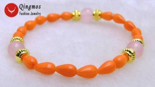 Natural 8mm Pink Jade /& 5*9mm Orange Drop Coral Bracelet for Women Jewelry br296