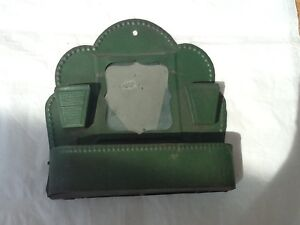 Antique wall match holder striker with mirror green painted tin