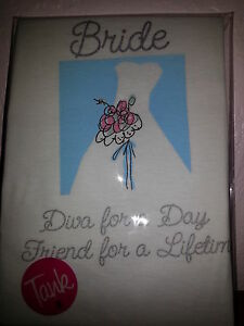 "Bride ""Diva For a Day Friend for a Lifetime"" White Tank Top Wedding NIP Med"