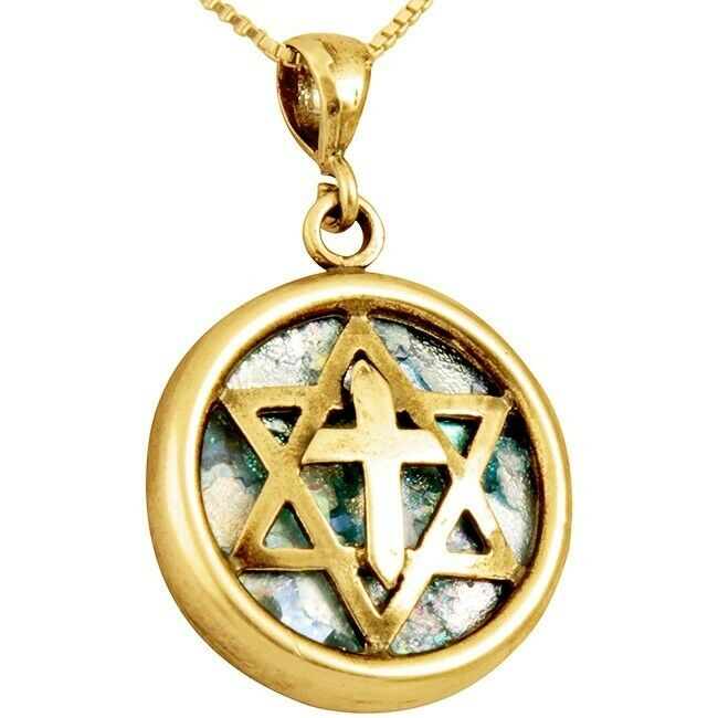 Star of David with Cross Necklace all Solid Sterling Sillver