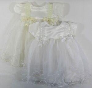 f2e439cf8b216 Image is loading Girls-Christening-Baby-Dress-White-Cream-Bows-Lace-