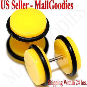 2060-Yellow-Fake-Cheaters-Illusion-Faux-Ear-Plugs-16G-Bar-1-2-034-12mm-2pcs