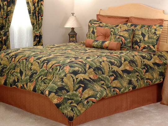10pc Lush orange Green Tangerine Tropical Foliage Comforter Set Cal King