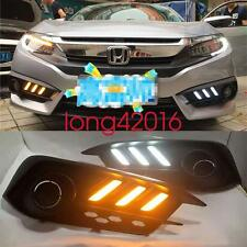 For Honda Civic 10th 2016-up Switchback LED DRL Lights Fog Lamp w/Turn Signals