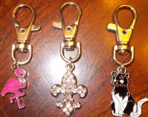 pink flamingo or cat or fleur de lis key chains or purse charms you choose