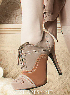 Steampunk Bohemian Oxford Retro Boots Lace Up Western Granny Victorian Cowgirl