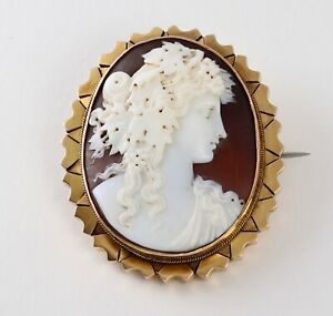 Antique-Victorian-9Ct-Gold-Shell-Cameo-Brooch-Locket-Of-Bacchante-c-1860-039-s