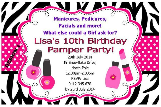 1 X PAMPER SPA PARTY GIRLS BIRTHDAY PERSONALISED CHILDRENS INVITATIONS MAGNETS