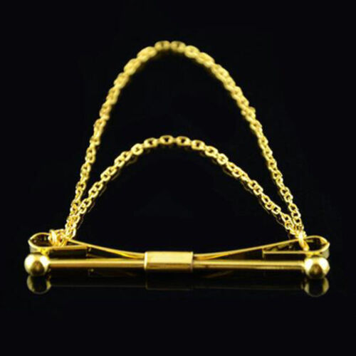 Mens Silver Gold Necktie Tie Clip Bar Clasp Cravat Pin Skinny Collar Brooch B
