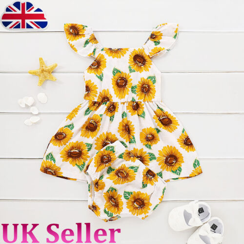 UK Baby Girl Toddler Sunflower Print Sleeveless Jumper Dress Underpants Outfit