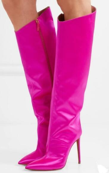 Occident femmes Pointy Toe Stilettos Knee High bottes Sexy Shiny Party Club chaussures