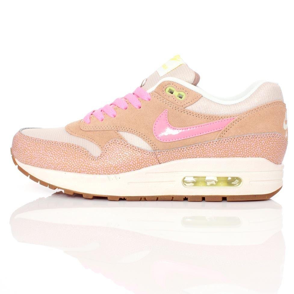 Nike Air Max 1 Wildleder und Netz Pink Abgestaubt Lehm Trainer 454746 201