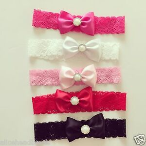 Satin-Bow-with-pearl-Lace-Band-Newborn-Toddler-Baby-Headbands-christening-lot