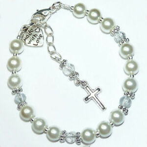 Girls-Baby-First-Holy-Communion-Christening-Charm-Bracelet-Gift-Any-Name-BR03