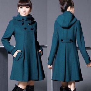 Winter Womens Wool Trench Coat Double-breaste<wbr/>d Cloak Hoodied Long Jacket Parkas