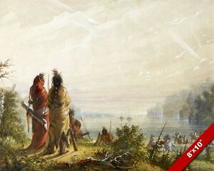 NATIVE AMERICAN INDIAN ATTACK ON FUR TRADE BOATS PAINTING ART REAL CANVAS PRINT