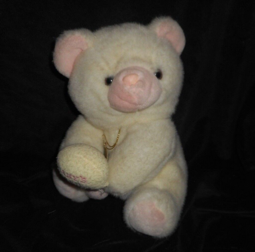 VINTAGE 1992 GEOFFREY RUSS Weiß TEDDY BEAR W RATTLE STUFFED ANIMAL PLUSH TOY