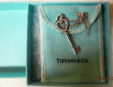 Tiffany & Co. Key Pendant and Chain 18k White Gold , Brand Name Jewelry