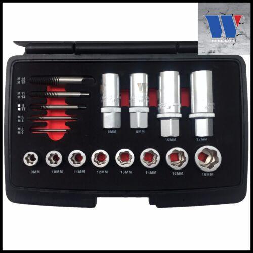 Stud /& Screw  17 Pc Set -Pro 4113//8378 BGS-Werkzeug Socket Extractor Set