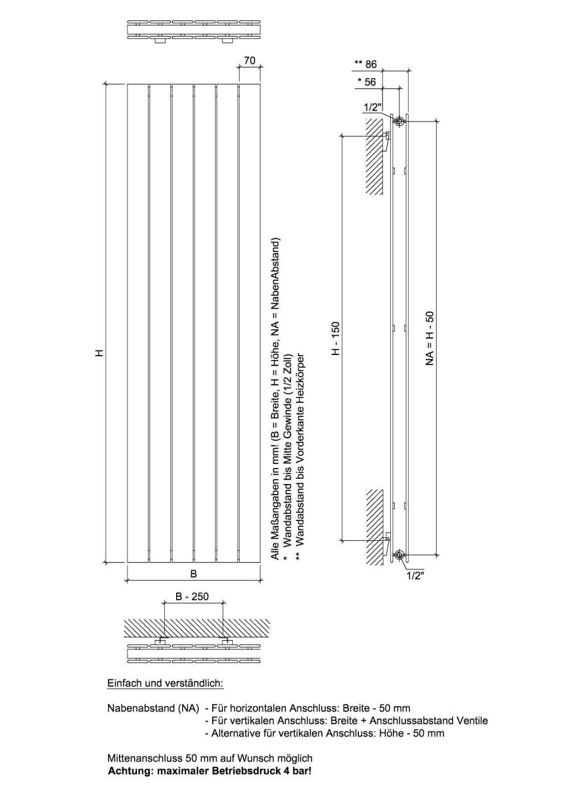 Ximax Ximax Ximax Design-Heizkörper Raum-Heizkörper P1 Duplex 180 x 44,5 x 7,4 cm 1218W d18f0a