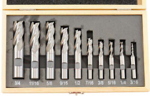 """10 PC TIN COATED END MILL SET 2 /& 4 FLUTE- 1//4/"""" 1//2/"""" 5//8/"""" 3//8/"""" 3//4/"""""""