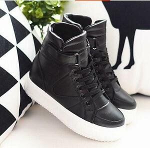 Women-039-s-Casual-Lace-Up-Platform-High-Top-Skateboard-Solid-Athletic-Sports-Shoes