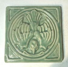 """Pewabic Tile Bird in Flight Matte Gray Green  5/5/8"""" Square  3 7/8"""" Thick 1989 ?"""