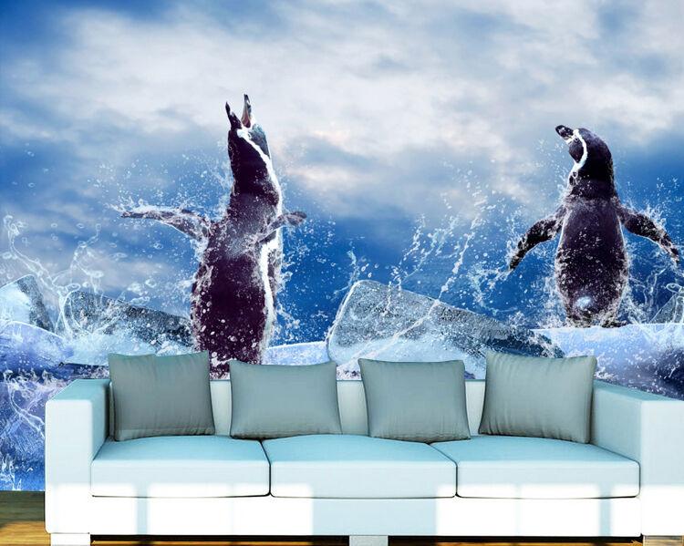 3D Penguin Niedlich Fototapeten Wandbild Fototapete Bild Tapete Familie Kinder