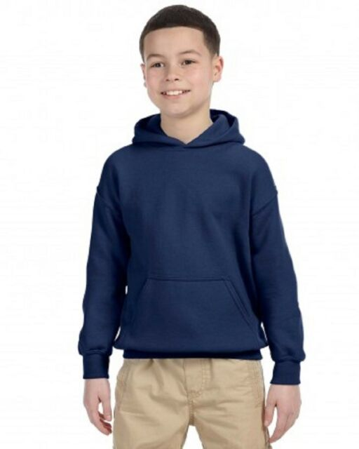 Gildan Youth Kids L Large  pullover hooded Sweatshirt Navy Blue ***LAST ONE***
