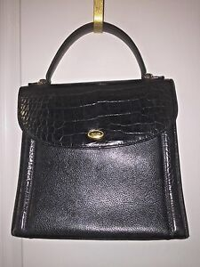 Nwot Vintage Classic Bally Pebbled Black Leather Moc Croc