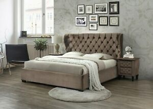 Details About New Ferox 2019 Mink Fabric Bed Frame Tall Winged Headboard Available 4ft6 5ft