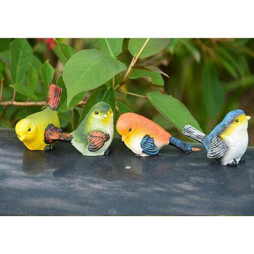 4pcs Artificial Resin Bird Feather Realistic Home Garden Tree Decor Ornament