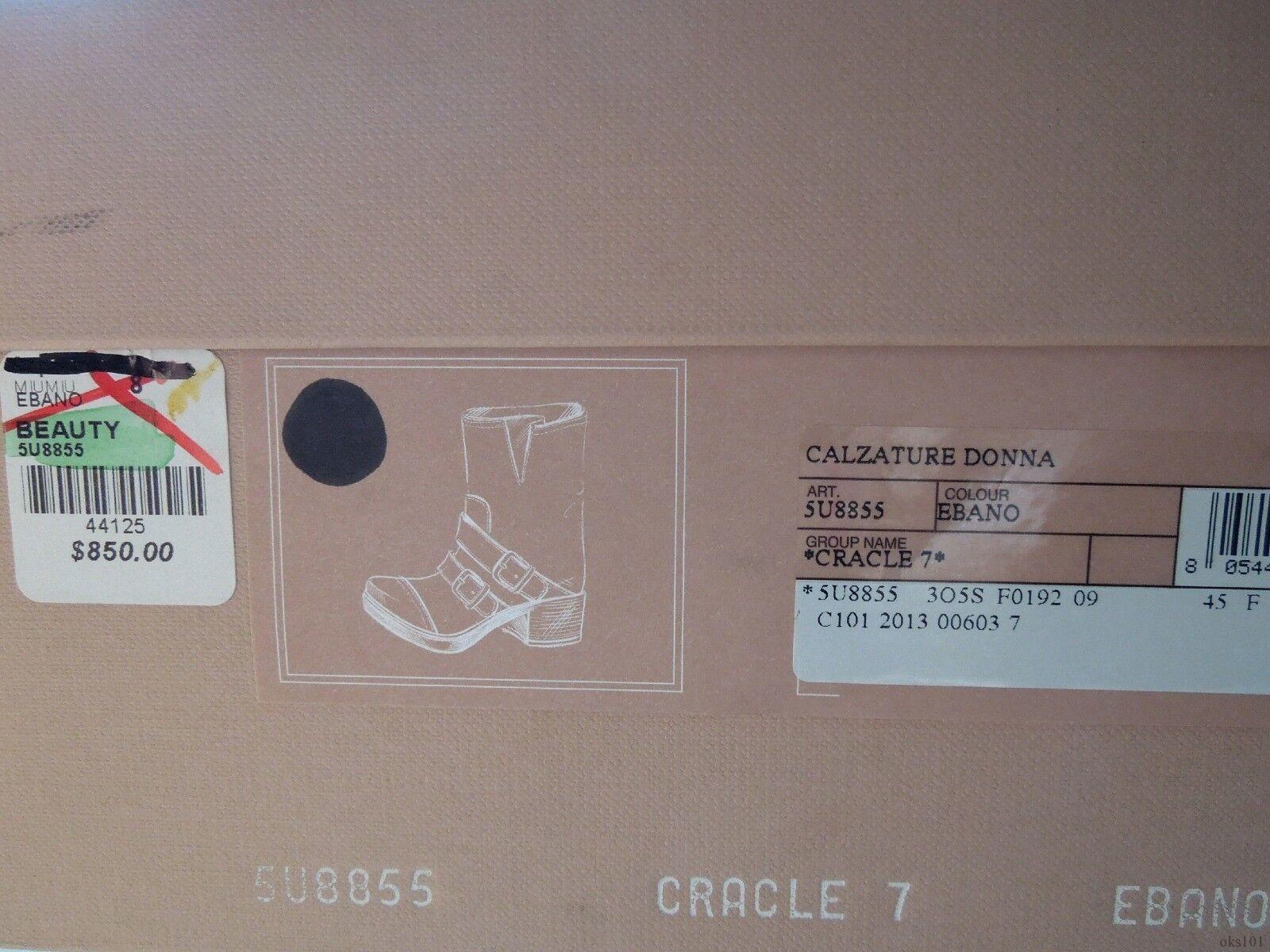 new $850 'Beauty' MIU MIU PRADA 'Beauty' $850 crackled schwarz leather buckled ANKLE Stiefel - HOT 8ba5e2
