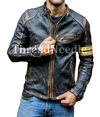 Men/'s Black Biker Vintage Motorcycle Distressed Cafe Racer Leather Jacket