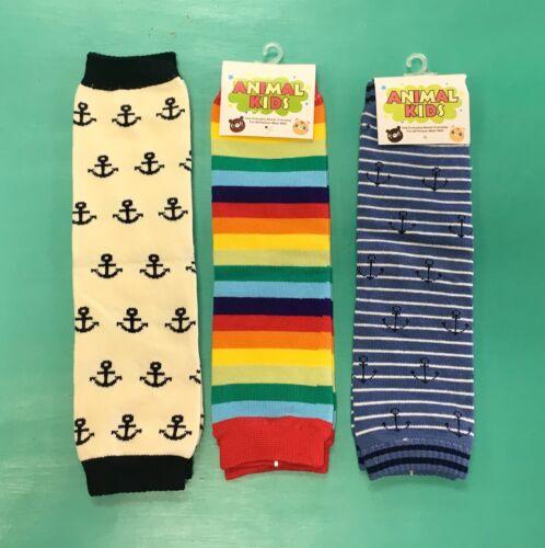 Legwarmers For Crawlers Anchors /& Stripes 3 Sets NEW Boys Baby Legs