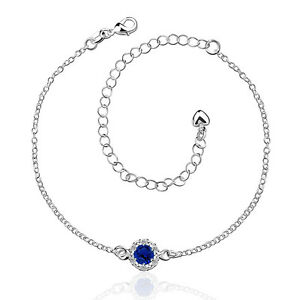 102 Mit Sterling Silber Collection Here Fußkette Damen Zirkonia/strass Blau Kette Schmuck Pl