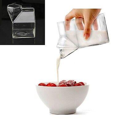 Half Pint Novelty Bar Fashion Creamer Milk Carton Glass Unique Mug Cup