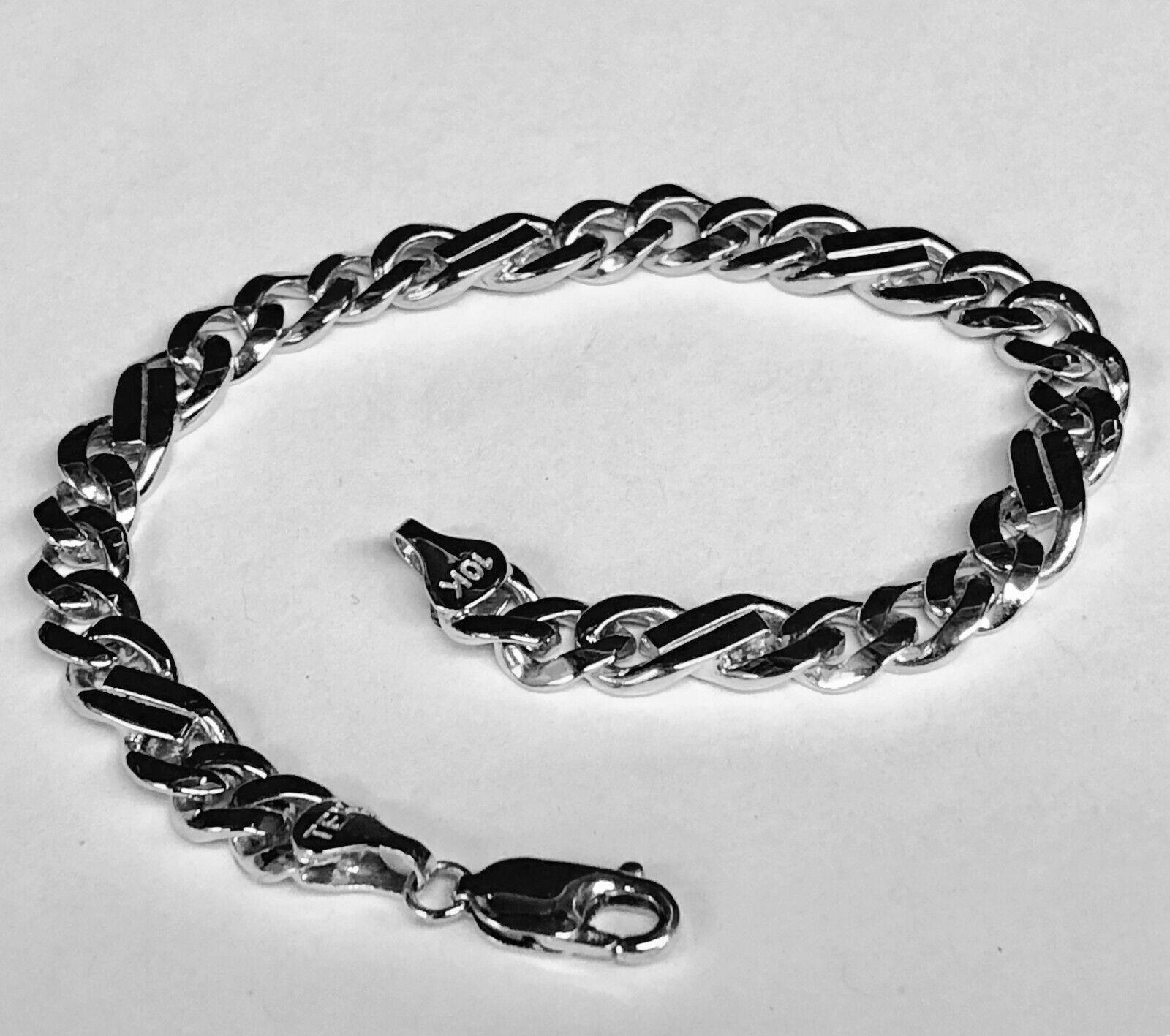 10kt Solid White gold Handmade Curb Link Mens Bracelet 9  23 Grams 7MM