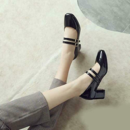 Mary Jane Lolita Pumps Shoes Womens Patent Leather Block Heel Ankle Strap Buckle