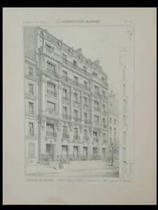 Paris, 39 Avenue Roosevelt - 1899 - Planche Architecture - Gastinne Renette Style à La Mode;