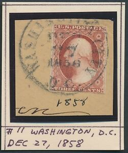 """#11 VF USED ON PIECE WITH """"DEC.27,1858"""" CANCEL BR563"""